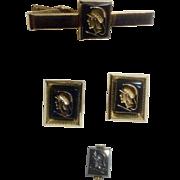 Anson Gold toned Hematite Roman Intaglio Soldier Cufflinks Tie Clip and Swank Tie Tac Vintage