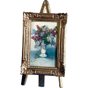 Ruth Huntley, Miniature Still Life Oil Painting on Board, Lilac Flowers in a White Vase ...
