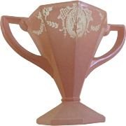 Art Deco Lady Dancer Pink Frosted Depression Sherbet Glass