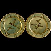 1952 Baret ware Pheasants & Mallard Ducks Tin Metal Tray Litho Plates Made in England