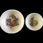 "Oneida Deluxe Peter Rabbit Melamine Melmac Children's Bowls 3243 & 3258 - 6 1/2"" & 5"""