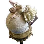 Lamp Ballerina Moon Lady Dancer Lace Porcelain Figurine Laying on a Moon Ball 1940-1950's