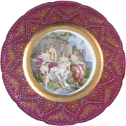 Imperial Nude Lady Bathers Plate Hand Painted Embossed Gold Maker's Mark with a #5 in ...