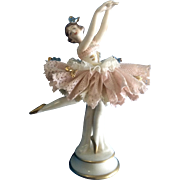SALE Porcelain Figurine Dresden German Lace Lady Dancer Ballerina Ackermann & Fritze (1908-195
