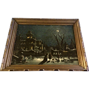 Gorgeous Victorian House Moon Reflection Night Scene Reminisce Print Art Picture Mid-Century .