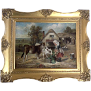 Walter Hunt (1861-1941) Feeding Time 1896, Old Master Oil Painting on Canvas Signed by ...