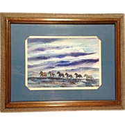 Thomas J Owens, Original Galloping Horses Watercolor Painting Signed By Listed Artist 1980's .