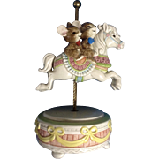 Otagiri Japan Mice Riding a Carousel Horse Music Box Gibson Greetings, Inc. Hand Painted ...