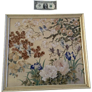 Praten, Silk Ink and Gouache Watercolor Painting, Birds and Flowers Mixed Media, Signed by ...