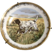 Miniature Limoges France Porcelain Pointer Hunting Dog Enhanced Transfer Plate