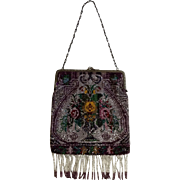"""Beaded Purse Roses in a Vase Motif (1920-1930) 10-1/2 """""""