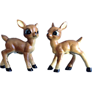 Adorable Deer Fawn Salt & Pepper Shakers Japan Vintage Mid-Century Figurines