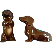 Rare Marston California Pottery Dachshund Dog Salt & Pepper Shakers 163 Salty & Peppy Doxin