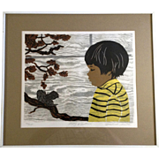 Rosalind Smith, Woodcut Etching, Poetry of Autumn, Kodak Velox Family Photo of Artist, Limited