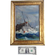 Earl Cochran, Marine Oil Painting, 1940's WWII US Navy Ship in Rough Seas, Signed by ...