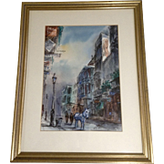 Tom Lane (1916-1991) Watercolor Painting, New Orleans Rue Royale, Horse Drawn Cart in Old ...