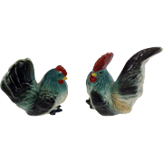 Chicken Salt & Pepper Shakers Made in Japan 1950's Ceramic Rooster & Hen Bird Figurines