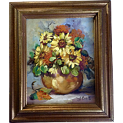 Dwade Williams Engle (1923-2013) Still Life Oil Painting, Flowers in a Vase, Painted on ...