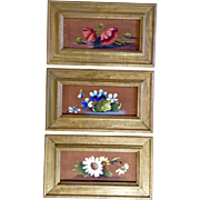 J. Barton, Still Life Floral Oil Paintings Set of 3 on Canvas Board Signed by ...