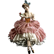 Martha Budich Dresden Porcelain Germany Lady Ballerina Holding a Rose Figurine 1950 - 1960