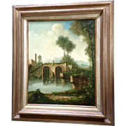 C Patin, Landscape Oil Painting of a Farmer Walking his Cow Across a Bridge, Signed ...