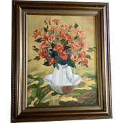 A. Porter, Red Roses in a Water Pitcher Oil Painting on Canvas Signed by Artist