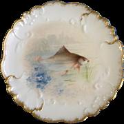 "Vintage Jean Pouyat (JP) Limoges France Fish Plate Hand Painted 8-1/4"" Diameter (1890 ..."