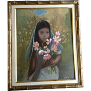 S Wolf, Beautiful Young Girl Holding Flowers, Oil Painting on Canvas, Signed by Artist