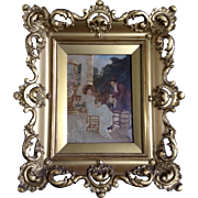 Brumm, Antique Oil Painting Enhanced Sepia Tone Photo on Canvas Man With a Lady 19th ...