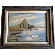 Annette G, Rustic Dock Oil Painting on Canvas Signed By Artist
