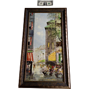 Robert , Street scene with Potted Flowers looking down an alley at the Street market, Oil ...