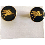 SOLD Rare Logo Mobil Oil Company Pegasus Horse Mens Cufflinks Gold Tone Mood Changing Jewelry