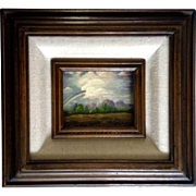 Elsie Frieda Backman (1918-2012) Rainbow from the Storm, Small Oil Painting on Canvas Signed .