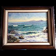 Frances J Collins, Sea Foam, Santa Catalina Island from Laguna Beach California Oil Painting o
