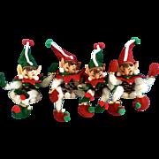 Vintage Christmas Rubber Face Pixie Elf Pipe Cleaner Felt Pinecone Santa Doll Elves 1960-1970