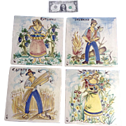 Primavera, Estate, Autunno, Inverno Italian 4 Seasons Hand Painted Ceramic Italy Vintage Tiles