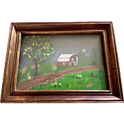 Small Folk Art  Red Barn and Windmill on the Hill 3D Dimensional Oil Painting on ...