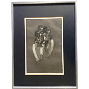 LT Russell, Abstract Bizarre Human Stone Lithograph Signed by Artist 1968