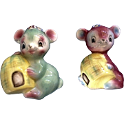 Adorable PY Mice Anthropomorphic Salt & Pepper Shakers Japan Ceramic Mid-Century Figurines