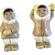 Victoria Ceramics Eskimo Salt & Pepper Shakers Made in Japan Mid-Century Figurines