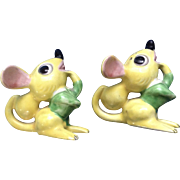 Vintage Identical Twins Yellow Mice Salt OR Pepper Shakers Both have 4 Holes Made in ...