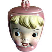 Napco Miss Cutie Pie Cookie Pink Jar 1950's Japan Ceramic Figurine