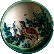 A. H. Puente Majolica Art Pottery Bowl With Bird Vintage Spanish Hand Thrown Hand Painted ...