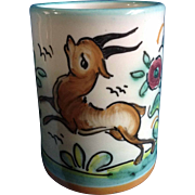 A. H. Puente Majolica Art Pottery Cup With Stag Deer Vintage Spanish Hand Painted Hand ...