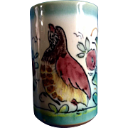 A. H. Puente Majolica Art Pottery Cup With Bird Vintage Spanish Hand Painted Hand Thrown ...