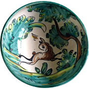 A. H. Puente Majolica Art Pottery Bowl With Stag Deer Vintage Spanish Hand Painted Hand ...