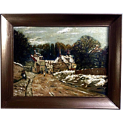 Meinke, The Road to Town Oil Painting on Board Signed by Artist 1960's