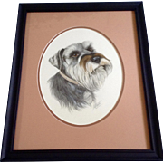 Marge Maret, Miniature Schnauzer Dog Portrait Watercolor Painting Works on Paper Signed by ...