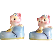 PY Anthropomorphic Cat Salt or Pepper Shakers Vintage Identical Twins Both have One Hole Made