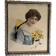 The Sweetest Girl Vintage Beauty Colored Lithograph 1910-1919 in Original Frame